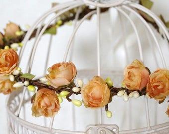 Flower crown wedding, Roses Bridal Ivory Head Wreath, Wedding Vintage Roses Flower Crown, greenery flower crown, flower headband