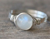 Cyber Monday Sale Moonstone Ring, Stone Ring, Sterling Silver Filled Ring, Wire Wrapped Ring