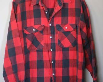 vintage buffalo plaid cotton shirt men's size L by winston