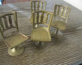 Miniatures , Miniature Brass Chairs , Set of 4 Dollhouse Chairs , Brass Dollhouse Chairs