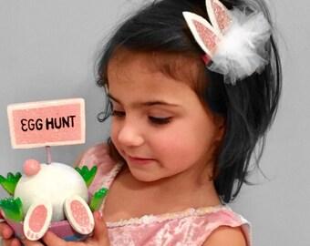 Easter bunny glitter ears headband , baby girl headband, Photo prop -
