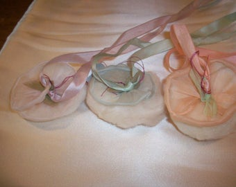 Breathtaking little powder puffs in pastel organdy with silk ribbon work authentic 1920s ribbonwork  antique