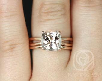 Rosados Box Lacy 9mm 14kt Rose Gold Cushion Morganite Infinity Split Shank Solitaire Wedding Set