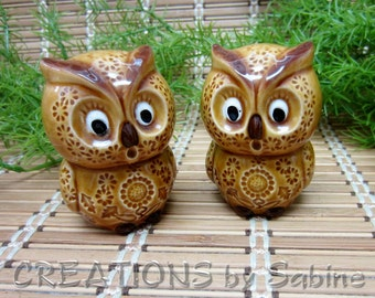 Owl Salt & Pepper Shaker Set, Ceramic Owls Hoot Brown Woodland Amber Brown Collectible Figurines Kitchen Shakers Vintage FREE SHIPPING (534)
