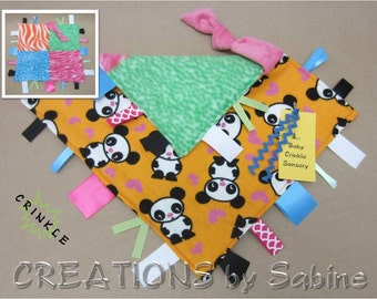 Panda Baby Crinkle Tag Blanket Toy Sensory Security Ribbon Lovie Pink Orange Black Bear Animal Hearts Kawaii Woodland (280)