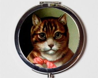 Mr Kitty Cat Compact Mirror - Vintage Storybook Illustration Kitten  - Make Up Pocket Mirror for Cosmetics