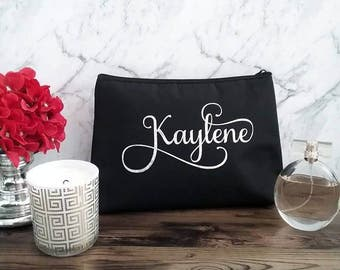 Personalised Makeup bag, bridesmaid gifts, gift personalised cosmetic bag, makeup purse christmas gift bridal party, bride makeup, for her