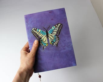 Butterfly diary, notebook, old, dyed paper, batik fabric, blank book, antique book, travel journal