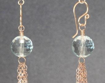 Green amethyst, chain cluster dangle earrings Venus 216