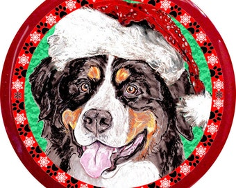 Santa Bernese Mountain Dog Handmade Christmas Pin