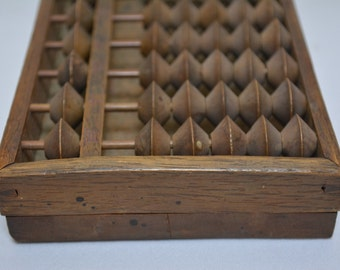 Antique soroban, solid wood abacus, counting frame, vintage Japanese, 1850-1930