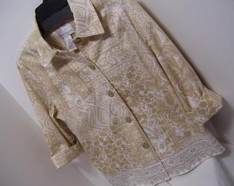 White, Khaki Tan, Modern, Jean Jacket, Embroidery Size 10, Drapers & Damon, Office Church, Resort Cruise Wear