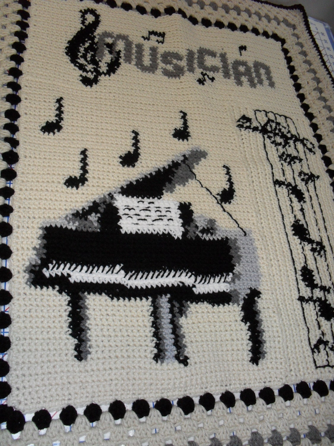 Crochet Pattern For Piano Afghan : Handcrafted Crochet Afghan Piano Musician Personalization
