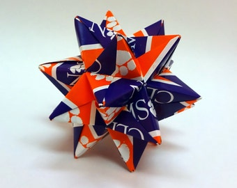Medium Origami Star Made From Licensed Clemson University NCAA Paper, Clemson Tigers Ornament, Fighting Tigers Decoration
