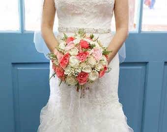 Sola Bouquet, Coral sola flowers,Large Bridal Sola Bouquet,Baby's breath,pearls, Romantic Bouquet, Destination wedding,Tallow Berrie