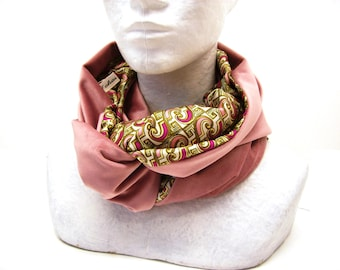 infinity scarf pink velvet and satin , women's cowl ,circle scarf , neckwarmer