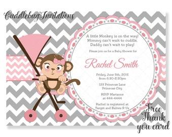 Pink Monkey Girl Baby Shower Invitation | Pink Baby Girl Shower Invite | Little Monkey Shower Invitation | Baby Monkey Shower Invite