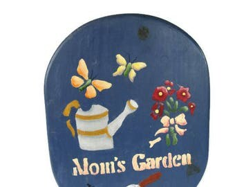 vintage wooden garden stool for mom, blue with stenciled designs