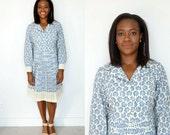 Vintage Shirt Dress / 1960s Pleated Dress / Vintage Blue Dress / Floral Dress / Blue Dress / Pleated Dress / Long Sleeve Dress / Pleats