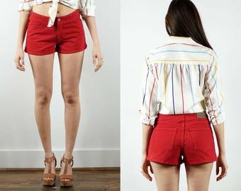 Vintage Red Shorts / 1990s Shorts / High Waisted Shorts / Daisy Dukes / Red Denim Shorts / Hot Pants / Red Jean Shorts / Summer Shorts