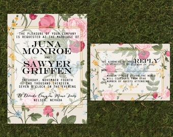Floral Wedding Invitation, Floral Wallpaper, Vintage Floral Invitation with RSVP