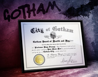 Arkham Asylum Certificate of Sanity with YOUR name! Signed by Prof. Strange - Gold Foil City of Gotham seal  - Unique HANDMADE Fanart