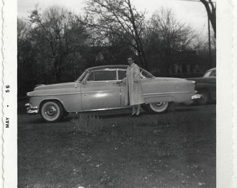 Old Photo Woman standing By Car 1950s Photograph Snapshot vintage