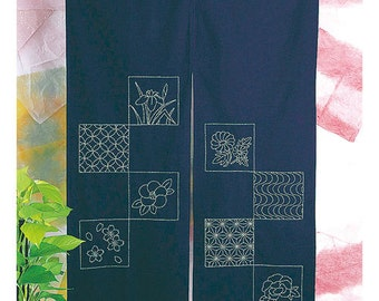 Olympus Japanese Traditional Design Noren Cafe Curtain Sashiko Kit with Cloths and Threads - Traditional Japanese Craft