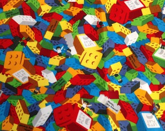 Cute Lego-like Blocks Print Japanese Fabric  - 110cm x 50cm