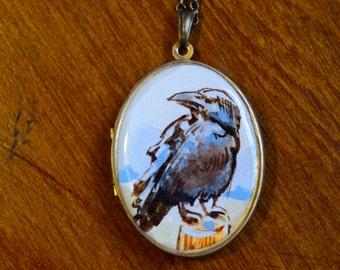 crow locket, bird jewelry, hand painted