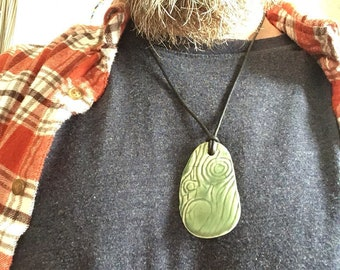 Handmade Ceramic Wood Grain Green Pendant / Faux Bois Clay Necklace