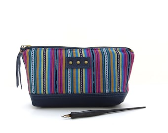 Striped zipper bag, blue pencil pouch, Guatemalan fabric bag, purple zipper pouch, leather pouch, striped makeup bag, ethnic fabric pouch