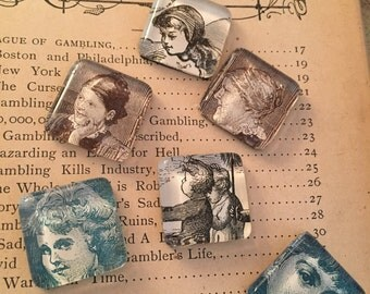 Lof of vintage magnets people who need people... small square glass (6)