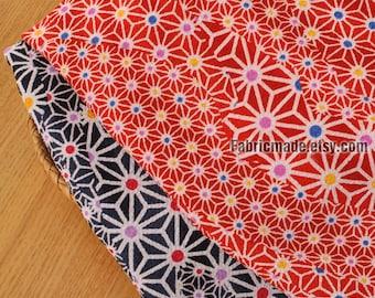 Japanese Kimono Crepe Fabric Vintage Tortoiseshell On Red Navy Blue - 1/2 Yard