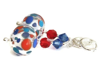 Red Blue and Light Blue Spotted Hollow Glass Bead Earrings, Round Red Siam and Sapphire Swarovski Crystals, Sterling Silver