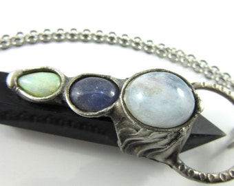 the high priestess - opal, tanzanite & moonstone - obsidian crystal pendant