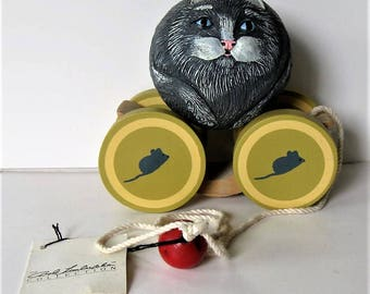 "Vintage BRIERE Folk Art Pull Toy, 1988 Gray Cat and Cart, Roly Poly, Bob Timberlake Collectible, Kitty Folk art, 7"" x 7"", Mouse, gift idea"