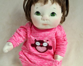 "SALE! Fretta's life size 48 cm / 19"" Soft Sculpture Baby. OOAK Textile Baby Doll"