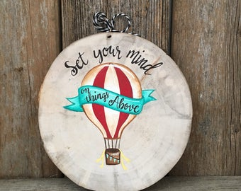 Hot air balloon ornament, wood slice ornament, hot air balloon, christmas ornament, balloon nursery art, Balloon Baby Shower, Christmas,