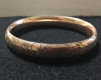 AAG Gold bangle bracelet vintage marked A A G 1/10  engraved