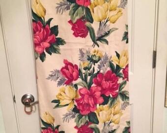 Vintage Barkcloth Drape Panel Roses Tulips Pinks Yellows