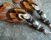 Autumn, Pheasant Feather Earrings, Pearl Earrings, Hunting Jewelry, Gifts for her, Totem Earrings, Natural Material Earrings