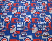 CHICAGO CUBS MLB Fabric 100% Cotton Brand New Sport Design  1/2 Pieces Go Cubs #3