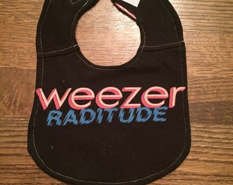Upcycled Bib from Weezer T-shirt