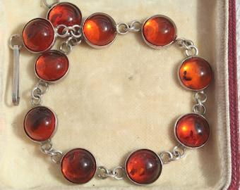 FREE SHIPPING Vintage Sterling Silver Cognac Amber Bracelet
