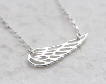 Wing necklace. sideways Angel Wing necklace, Guardian angel Wing necklace. First communion, confirmation gift, wing jewelry.