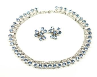 Bogoff Rhinestone Necklace Sky Blue Crystal Set - Earrings
