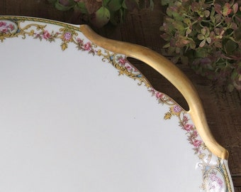 Limoges France UC Arenita Pattern Plate, Pink Floral Petit Fours Platter or Tray, Gold Gilt Handle Tray, Ca. 1920's