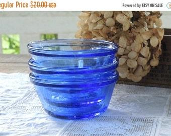 On Sale Anchor Hocking Blue Glass Bowls Set of 3, Custard Bowls, Vintage Housewares, 6 Oz Bowls, 177 ML, USA 12