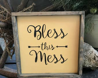 Bless This Mess, Funny Wood Sign, Housewarming Gift, Gift For Mom, Mother's Day Gift, Wife Gift, Wood Sign Saying, Messy House Quote, Signs